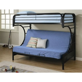 This Black Metal Twin over Full Futon Bunk Bed with Built-in Ladder would be a great addition to your home. Also, it is made of lead-free, epoxy powder coat finish that resists scratching or chipping. Casual style; Metal composition; Smooth clean edges and straight rounded legs.