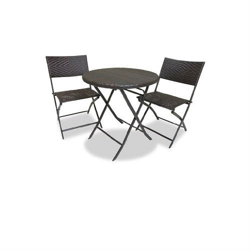3-Piece Outdoor Bistro Set with Round Table and 2 Patio Chairs, RSBS1299 :  This 3-Piece Outdoor Bistro Set with Round Table and 2 Patio Chairs allows you to entertain with distinction and charm. Each of the three piece Bistro set collapses for easy storage or portability. The 28-inch diameter table is large enough for dining or support for elegant entertaining. The chairs are 32-inch high at the back and the seats are 18.5-inch wide and 17-inch deep and are weight rated to 275 lbs. The woven diamond pattern of the polyethylene resin rattan material is handsome in any setting and easy to clean with mild soap and water. The recyclable resin wicker is hand stretched over a lightweight steel frame yet durable construction.