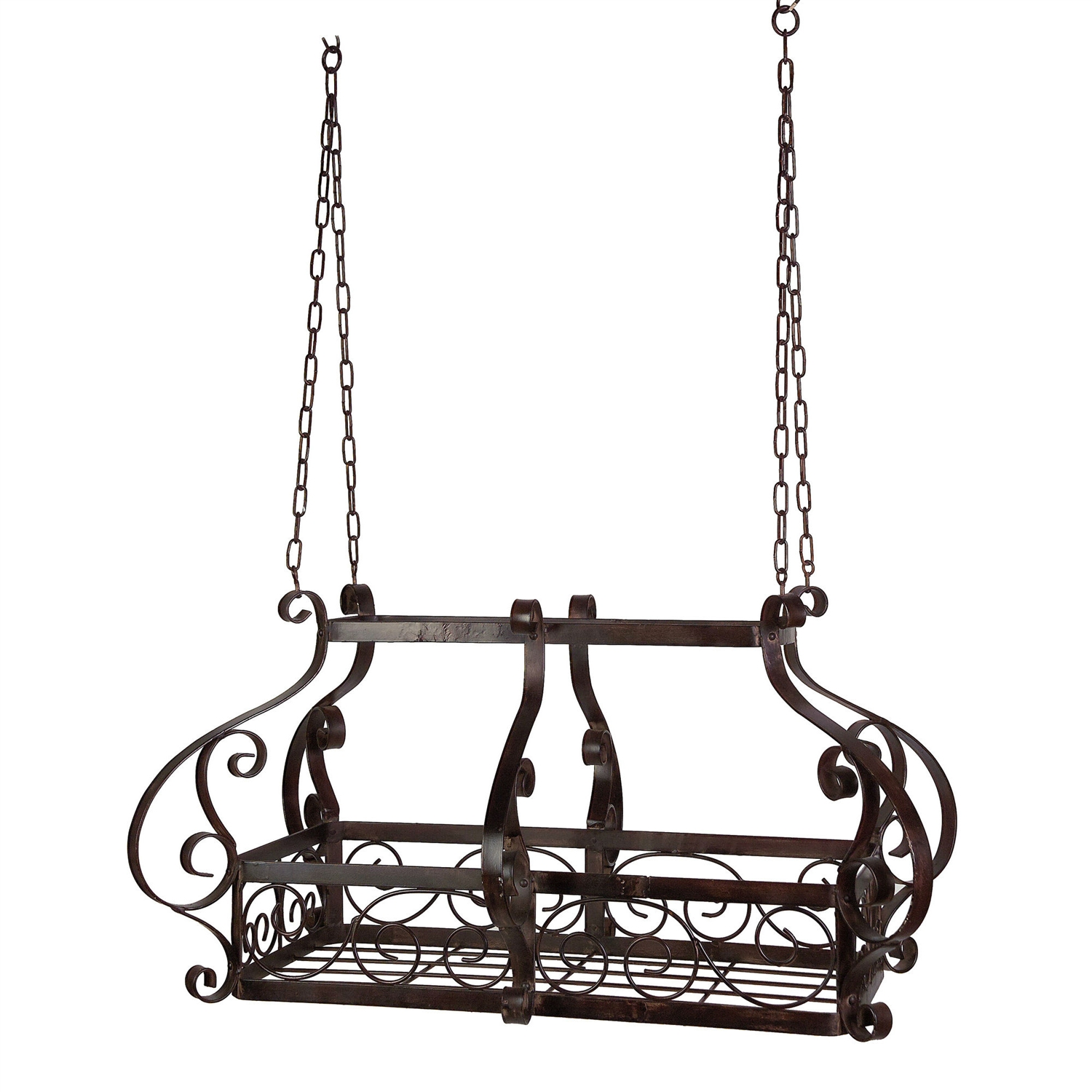 This Brow Scrolling Metal Traditional Ceiling Hanging Pot Rack with 12 Hooks would be a great addition to your home. It has an old world charm and 12 hanging hooks included. Material: Metal; Shape: Rectangular/Square; Shelving: Yes; Country of Manufacture: China.