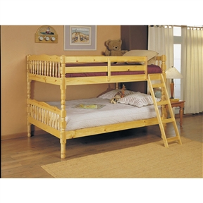 "This Full Over Full Bunk Bed with Ladder in Natural Light Wood Finish easily converts to two full size single beds. Item is to bring a bright feel to your child's room and is the perfect solution for a family with limited space. Perfect addition to your modern or classically arranged bedroom. Mattress and related accessories are available separately. Assembly required. Dimension: 81""W x 58""D x 60""H, Finish: Natural."