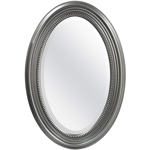 This Oval Round Bathroom Mirror with Wall Hangers and Silver Frame features wide 3.25 inch molding, giving the mirror a classic look. Hangs vertical or horizontal with D ring hangers