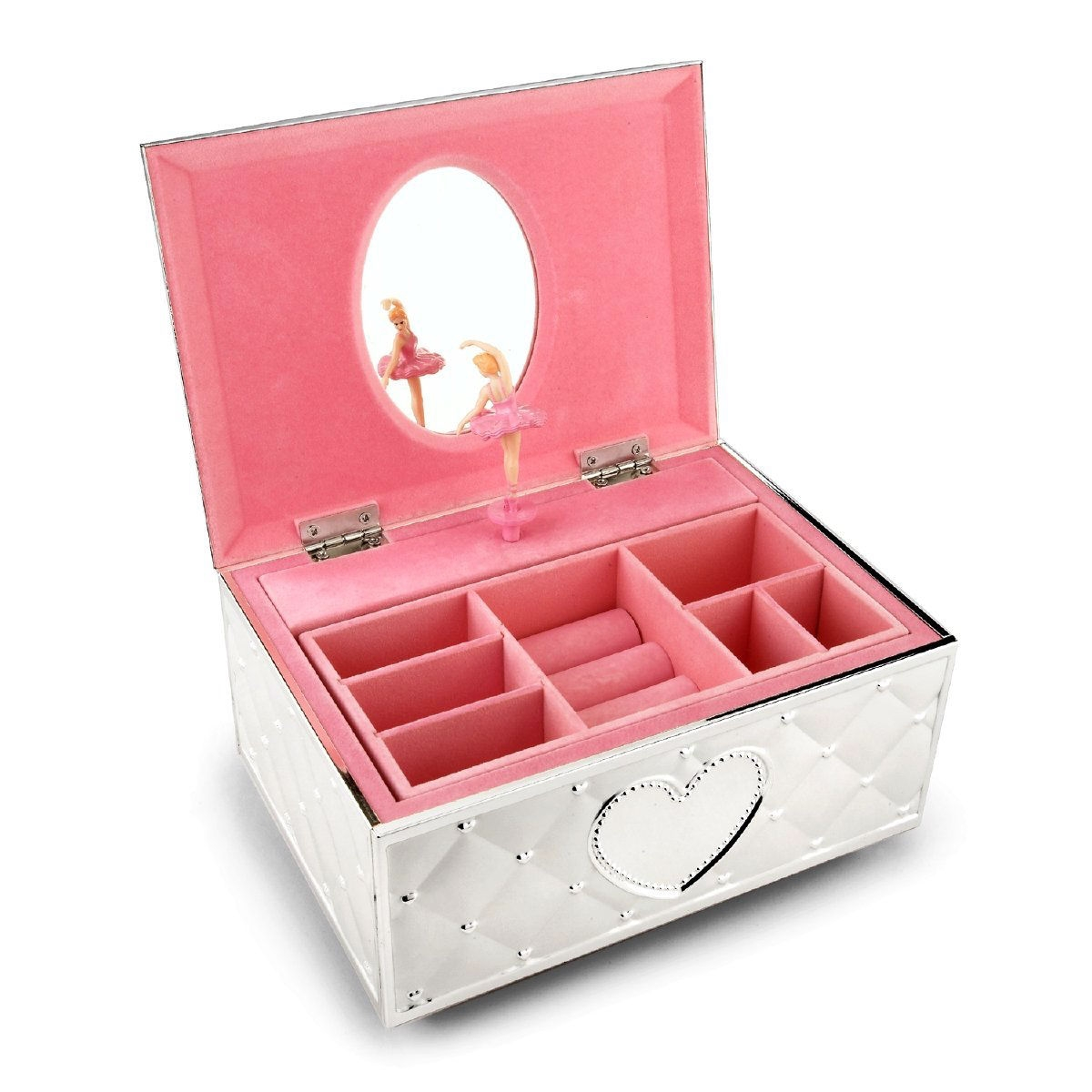 """Musical Fur Elise Girls Ballerina Keepsake Metal Pink Lined Jewelry Box, GLCMG3294 :  This Musical Fur Elise Girls Ballerina Keepsake Metal Pink Lined Jewelry Box has a perfectly poised ballerina balances en pointe when you open this charming jewelry box. The outside of the box bears a sculpted quilt pattern with dozens of tiny hearts - plus a large heart on the front and top. Inside, the pink-lined box has compartments for rings and a little girl's favorite things. Crafted of metal; Plays """"Für Elise""""."""