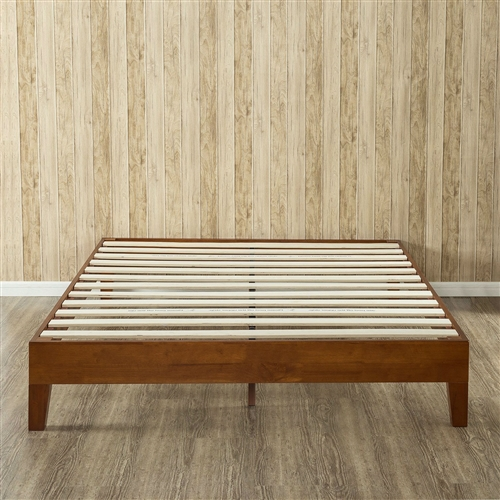 This Queen size Solid Wood Low Profile Platform Bed Frame in Cherry Finish is beautifully simple and works well with any style of home décor. the 5.75 inch frame and legs are made of rubber wood to support your memory foam, latex, or spring mattress. The Queen size Solid Wood Low Profile Platform Bed Frame in Cherry Finish is 12 inches high and designed for use with or without a box spring foundation. stylish and strong support for your mattress at an affordable price.