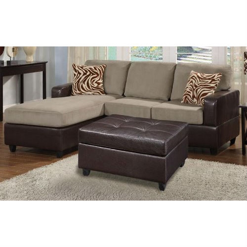 This 3-Piece Reversible Sectional Sofa with Ottoman in Pebble Color is available in a multitude of colors in a smooth microfiber. Its versatility and style is great for den and standard living room spaces. Accented with brown and white zebra print pillow, This collection also features a classic plush cocktail ottoman. Enjoy the experience of modern decor with a practical and functional composition. Available in Chocolate (F7661), Saddle (F7662), Mushroom (F7664) Red (F7668), Pepple w/ PU (F7669) and Sage w/ PU (F7670).