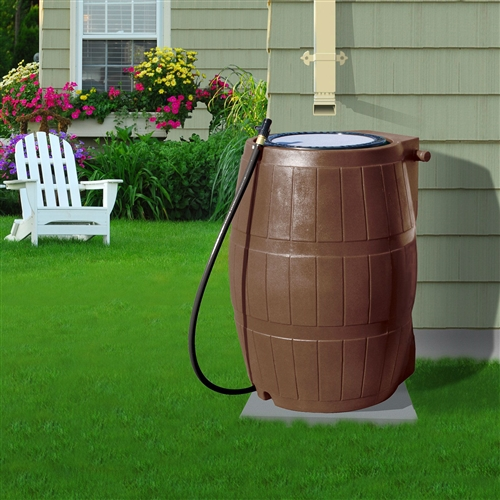 50-Gallon Brown UV Resistant Plastic Rain Barrel with 3-Ft Hose and Shutoff Valve,  FBYRB54814 :  This 50-Gallon Brown UV Resistant Plastic Rain Barrel with 3-Ft Hose and Shutoff Valvep allows you to collect chlorine free rain water, which your plants will love. The rain barrel is made from uv resistant plastic with recycled content and includes installation instructions, a garden hose with shut off valve, overflow hose, clamps and a mosquito resistant/permanent lid. It also contains a linking kit so that barrels can be joined together to collect even more water. Conserving water is not only good for the environment; it can also save you money on your water bill. Includes 3 ft. hose with shutoff valve; 50 gallon capacity; Flat Back; Includes Hose & Shut Off Valve & Linking Kit; Material Plastic; Warranty 1 Year Warranty.
