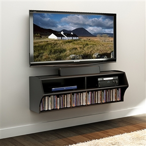 With this Wall Mounted A/V Console / Entertainment Center in Black you can Give any room a dash of modern style with this stylish and innovative wall mounted A/V console. Finished in 'goes-with-everything' black, this sleek yet functional console offers two generous storage compartments.