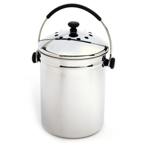 Stainless Steel Kitchen Compost Keeper Bin with Charcoal Filter, NGEZSC3493 :  This Stainless Steel Kitchen Compost Keeper Bin with Charcoal Filter allows you to conveniently store food scraps in this odor eliminating container before transferring food to an outside composter. Attractive, high shine, polished finish. Sturdy stainless steel and santoprene comfort grip handle and knob. Includes a dual odor preventing filter set in the tight fitting lid. The filter set should keep your compost keeper odor free for up to 6 months. Use replacement filter 94F.  Durable stainless-steel construction; 1 Gallon capacity.