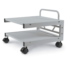 Save valuable desktop space with this Low Profile Printer Stand with Bottom Paper Shelf and Locking Casters. Top shelf includes a security rail that protects equipment and also doubles as a handle. Store paper or other supplies on the bottom shelf for convenience.