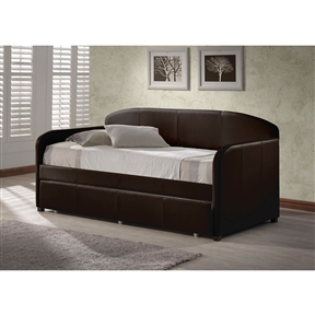 This Twin size Brown Faux Leather Daybed with Roll-out Trundle would be a great addition to your home. Whether you choose it for a teen's bedroom or need it as a guest bed in your office or den, the daybed is a marvelously modern solution. Back Included: Yes; Arms Included: Yes; Finished Back: Yes; Legs Included: Yes; Number of Legs: 4; Removable Legs: No Slat System: Yes; Mattress Compatibility: Twin. Product Care: Dust frequently using a clean cloth; Do not use wax or abrasive cleaners as they may damage the finish; Periodic checks are recommended to insure that all components are in proper position, tight and free from damage