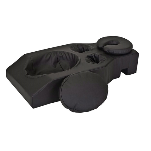 This Pregnancy Cushion for Massage Table with Face Cradle Headrest Cushion in Black is for any stage of pregnancy or for clients who have recently had breast surgery or who suffer from lower back problems. Ideal for all healing professionals including massage therapists, spa professionals, chiropractors, and physical therapists.