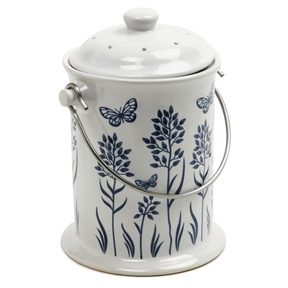 3-Quart Ceramic Compost Keeper with Floral butterfly Design, N3QCKBW2716 :  This 3-Quart Ceramic Compost Keeper with Floral butterfly Design is for easy organic recycling - store peelings, egg shells, coffee grounds, loose tea, herbs, flowers, fruit and vegetable scraps for transfer to your garden composter. Attractive design you can leave on your countertop. Includes odor preventing filter in tight sealing lid. Easy to clean.  3-Quart/2.9-Liter; Hand wash recommended.
