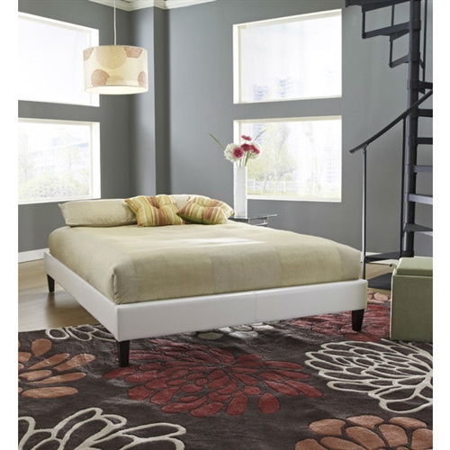 This Full-size Padded Platform Bed Frame Upholstered in White Faux Leather features a padded simulated leather to compliment any decor theme. Set includes head, foot and side rails, everything you need for the perfect platform bed. Bed is too low to the ground to accommodate a trundle bed; Uses a wood slats support system and they are included; Bed Type: Platform Headboard Included: Yes; Style: Contemporary.