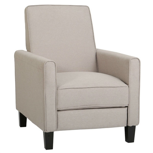 Curl up with a cozy blanket and good book in this Wheat Beige Linen Fabric Upholstered Club Chair Recliner or grab some snacks and sit down to enjoy the big game. Needs about 2 feet in front and behind the recliner for adequate space; Chair does need to have clearance between the chair and the wall in order to recline; Product Warranty: 90-day manufacturer's warranty; Contains Flame Retardant Materials: Yes. Scale: Small Size Recliner; Non-Toxic: Yes; Cushion or Upholstery; Fill Material: Foam; Removable Seat Cushion: No; Removable Back Cushion: No. Rocker: No;  Wall Hugger: No; Power Recline: No; Reclining Mechanism Details: Push Back Mechanism; Required Back Clearance to Recline: 25 Inches; Footrest Included: Yes; Retractable Footrest: Yes; Back Type: Cushion back; Tight back; Arm Type: Track arms; Round arms; Removable Legs: Yes.