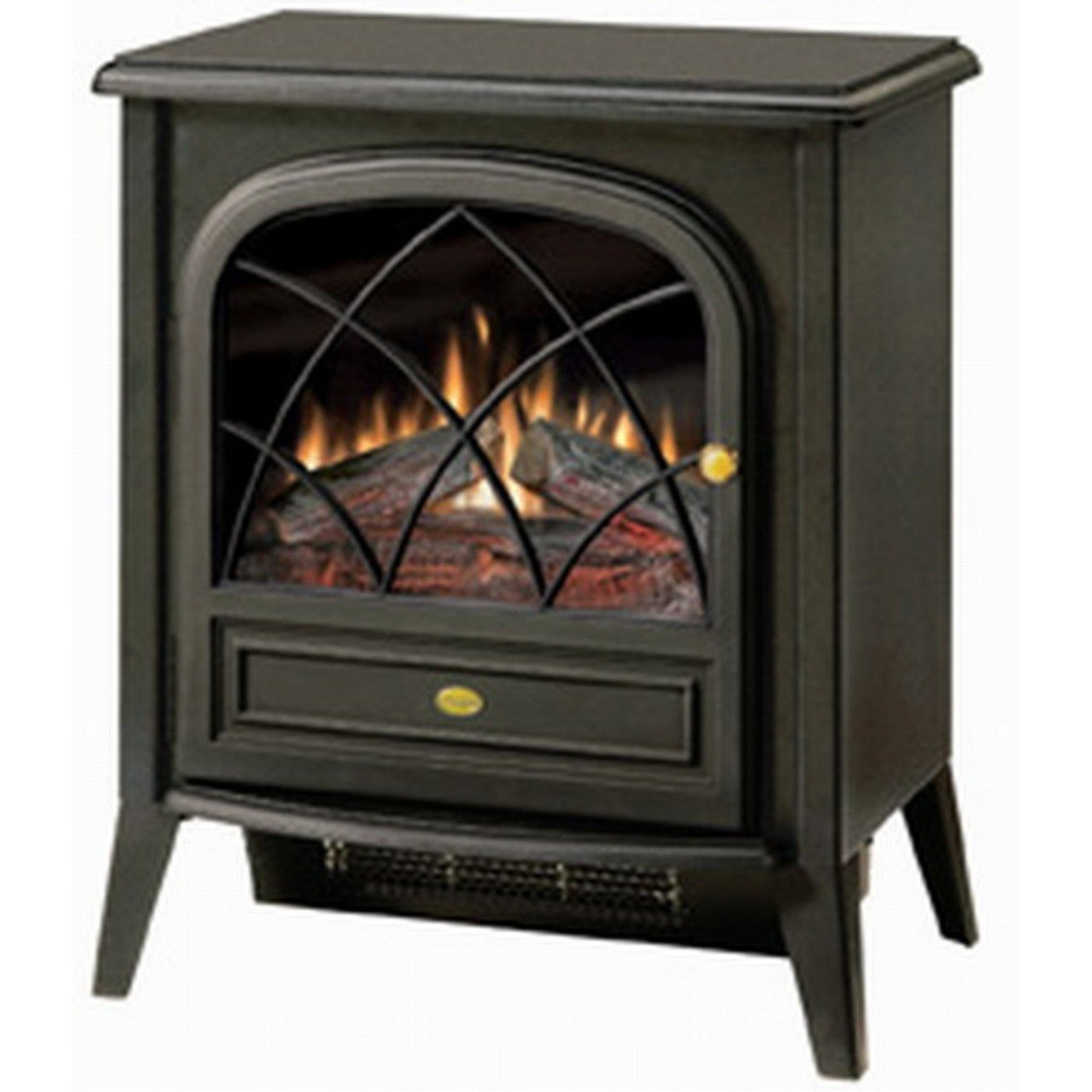 Black Compact Stove Style Electric Fireplace Space Heater with 3D Flame, DCES16801 :  This Black Compact Stove Style Electric Fireplace Space Heater with 3D Flame delivers a traditional appearance and soothing flame in a small package. No need to worry about chimney fires, expensive fuel and messy ashes of a real wood stove. With the CS33116A, you just place it where you want and plug it in to any standard household outlet. This makes it perfect for use in sunrooms, trailers, RVs or anywhere you need a zone heating solution. No fuss, no hassle, just safe, clean and green operation. The CS3311's traditional aura is enhanced by the realistic matte black finish, opening door with gothic arched frets, and subtle metallic highlights. The patented Dimplex flame effect contributes even more to the authentic appearance. You will appreciate the CS3311's powerful heater on chilly nights; it can warm a room up to 400 sq. ft. and stays cool to the touch so people and pets stay safe. On warm evenings, you can even to choose to relax in front of the flickering flames with the heater turned off and just mellow out to the glow of the fire. Flame operates with or without heat and comes with a remote control