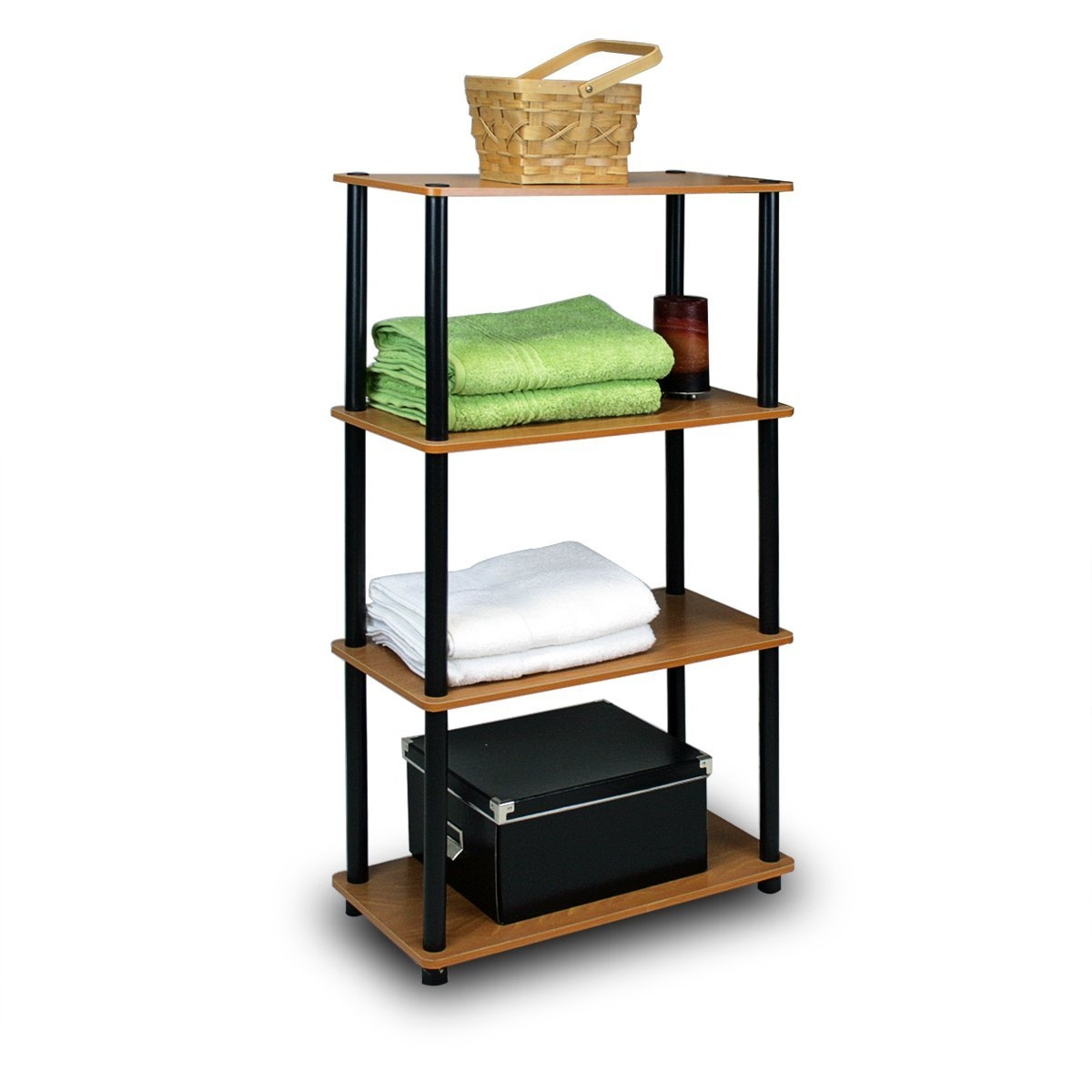 This 4-Tier Storage Shelf Display Rack Bookcase in Cherry Finish is designed to meet the demand of low cost but durable and efficient furniture. It is proven to be the most popular furniture due to its functionality, price, and the no hassle assembly. The materials comply with e1 grade particle board for furniture. There is no foul smell of chemicals, durable and it is the most stable particleboard used to make furniture. Care instructions: wipe clean with clean damped cloth. Avoid using harsh chemicals. We are pleased to send you the replacement part free of charge. Pictures are for illustration purpose. All decor items are not included in this offer. Pictures are for illustration purpose. All decor items are not included in this offer.