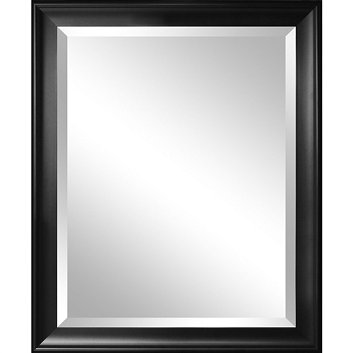 "This Beveled Glass Bathroom Wall Mirror with Black Frame - 34 x 28 inch can be hung vertically or horizontally. The 2.5"" wide black frame will blend with most decors to help enlarge a room or hallway while providing function."