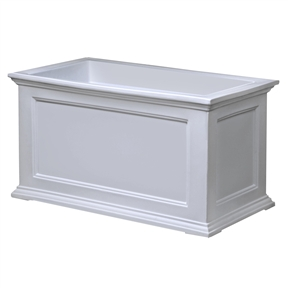 20 x 36 inch Patio Planter in White - Made in USA, M20X36PW179 :  This 20 x 36 inch Patio Planter in White - Made in USA would be a great addition to your home. Have the look of wood without the upkeep with these high-grade polyethylene planters. Long-lasting beauty, durability and quality. Built-in water reservoir encourages healthy plant growth by allowing plants to practically water themselves. Beautiful New England design adds a charming touch to any patio or deck; Sub-irrigation water system, encourages root growth; 15 Year limited warranty; Material: Polyethylene Shape: Rectangle; Drainage Holes: Yes Recommended Plant Type: Flowers; Insect Resistant: Yes Water Resistant: Yes; Warp Resistant: Yes Rot Resistant: Yes; Crack Proof: Yes Fade Resistant: Yes; Anti-Shock: Yes Self Watering: Yes; Capacity: 23 Gallon Ounces Recycled Content: 0%; Eco-Friendly: Yes Country of Manufacture: United States.