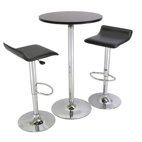 This 3 Piece Modern Dining Set with Bistro Table and Two Stools would be a great addition to your home. It has a functional yet stylish design and an iron base. Round sturdy table; Matching metal leg airlift bar stools; Ideal for smaller settings; As functional as it is stylish; Stools have adjustable height. Assembly required; Application: Residential; Pieces In Set: 3 - Piece Pub Set; Product Category: Pub/Bar Tables & Sets; Shape: Round. Stool Features Options: Barstools With Back, Swivel Barstools; Style: Modern/Contemporary; Table Features: Pedestal Table.