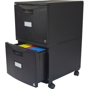 Stylish in both home and office, this Black 2-Drawer Locking Letter/Legal size File Cabinet with Casters/Wheels has 2 drawers that offer the option of storing either letter or legal hanging files. The lightweight poly construction includes 4 removable casters, making office re-organization quick and easy. Each drawer features a printable label as well as an independent key lock with key to keep contents secure.