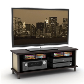 Create a stylish entertainment center with this 50-inch Flat Panel TV Stand / Entertainment Center. Perfect for LCD and plasma televisions, this console features compartments for your other A/V components. Special features: Supports up to a 50-inch flat panel up to 135 pounds; 16 disc on-board media storage; Reversible color side and back panel; Three fixed shelves; Assembly required.