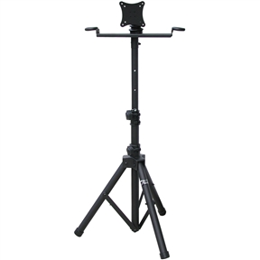 "This Mobile Flat Screen TV/ Monitor Stand Adjustable 37 to 59-inch High has two metal microphone holders and foldable tripod legs. The AST420Y is designed for a flat panel TV 14""-23"" weighing up to 33 lbs and the mounting holes are 75 X 75mm and 100 X 100mm."