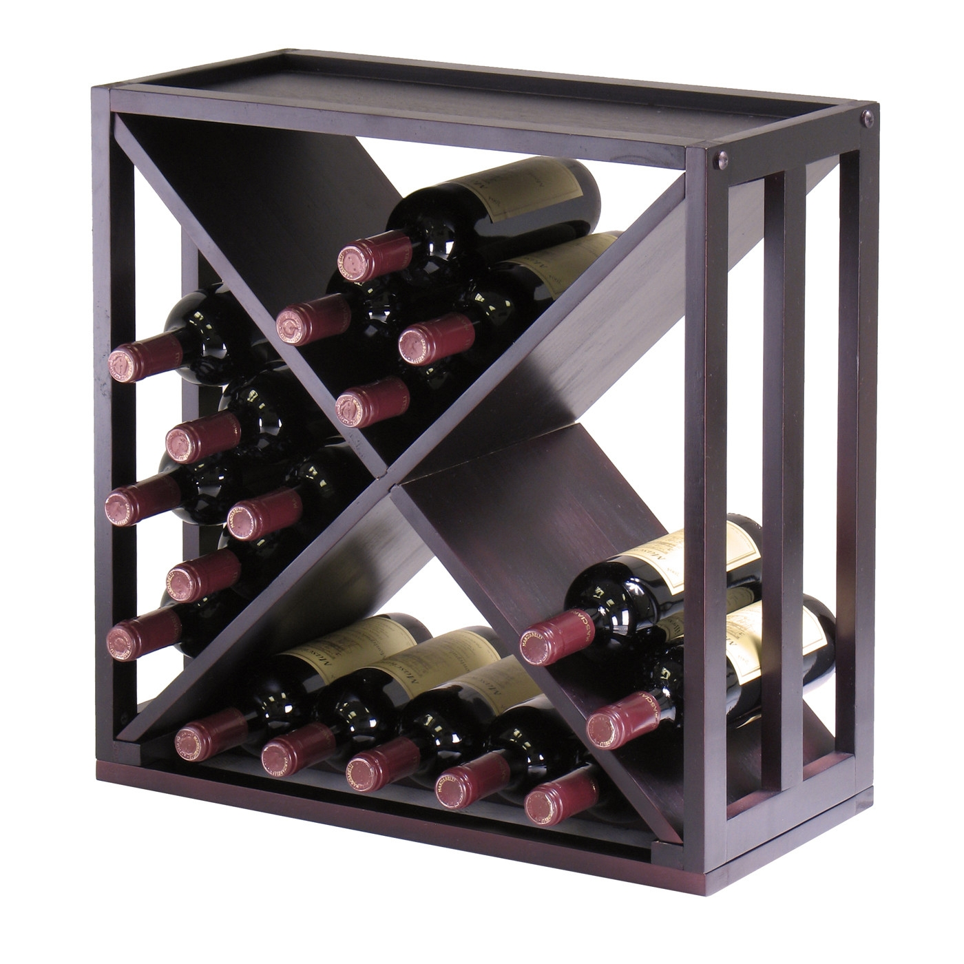 This 24-Bottle Modern Wine Rack Modular and Stackable in Espresso would be a great addition to your home. It has an espresso finish and a wood construction. Espresso finish; Style: Traditional; Design: Cube; Stackable; Bottle Size Compatibility (mL): 750; Commercial Use: No; Country of Manufacture: China. Product Warranty: Replacement parts within 60 days from date of purchase.