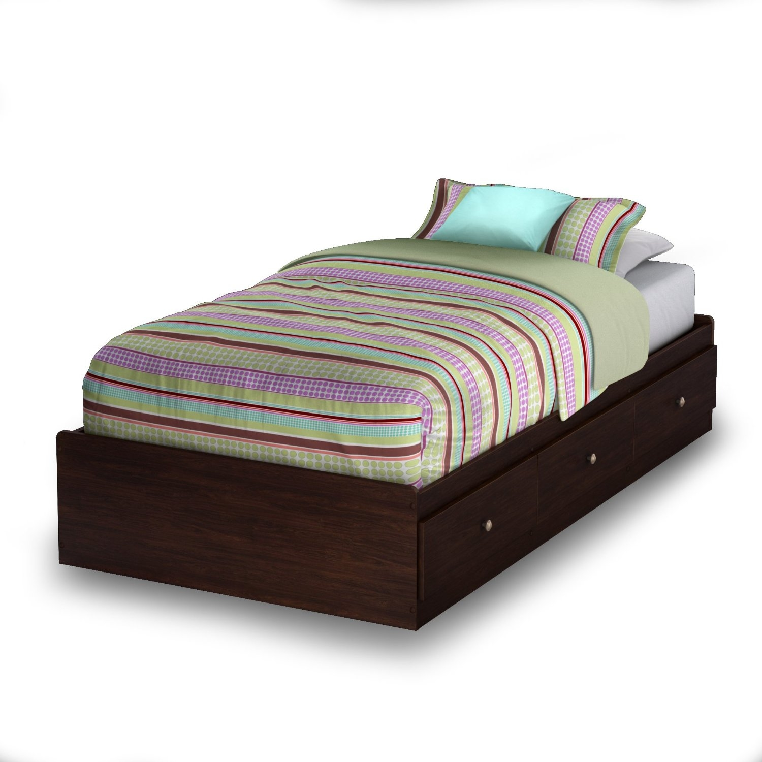 Twin size Platform Bed with 3 Storage Drawers in Havana Finish, SWTPBH179 :  This Twin size Platform Bed with 3 Storage Drawers in Havana Finish features three drawers for closed storage. The bed is reversible, so drawers can be put on either side of the bed. Also, the metal handles with a gold nickel finish will enhance any bedroom. This bed fits twin size mattress and box spring is not required. Interior drawer dimensions: 22-1/2-inch wide by 17-3/4-inch front to back. It features metal slides for smooth gliding. Measures 76-1/4-inch wide by 40-1/4-inch deep by 13-3/4-inch high. It is delivered in one box measuring 82-3/4-inch by 20-inch by 4-inch and weighs 119-pound. Complete assembly required by two adults; Tools not provided; To clean, use a soft dry cloth; Made in Canada; Mattress and accessories not included. Manufactured from CARB compliant composite wood carrying the Forest Stewardship Council (FSC) certification laminated / havana finish.