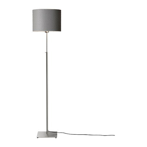 "Modern Floor Light with Round Grey Lamp Shade, AFL51953 : This Modern Floor Light with Round Grey Lamp Shade would be a great addition to your home. Product dimensions Min. height: 46 "" Max. height: 5 ' 2 "" Shade diameter: 12 "" Cord length: 7 ' 5 "". Base plate/ Stem: Steel, Nickel plated; Shade: Polystyrene, Paper. Height adjustable; Adjust according to need; Style: Electronic."