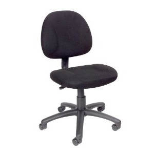 This Black Office Chair with Padded Seat and Back with Lumbar Support has thick padded seat and back with built-in lumbar support, Waterfall seat reduces stress to your legs, Back depth is adjustable, Pneumatic seat height adjustment, 5 star nylon base allows smooth movement and stability, Hooded double wheel casters.
