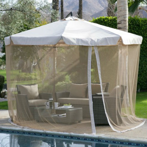 11-ft. Gazebo Umbrella with Detachable Netting in Beige, H614CC11 :  Stay in the shade with the 11-ft. Gazebo Umbrella with Detachable Netting in Beige. This large offset umbrella is just right by the pool or spa, or on the patio. Enjoy family meals or conversation with friends under the cool shade of this 11-ft. Gazebo Umbrella with Detachable Netting in Beige. For additional shade, add this umbrella to larger outdoor conversation or dining tables that don't accommodate umbrellas or have hard-to-reach umbrella holes.  A sturdy steel pole is finished in a nice, neutral bronze color and topped off with a spun-polyester cover in a variety of complementing colors. The canopy conveniently opens and closes by using a crank-lift system. This grandly scaled umbrella can provide shade for a large dining table or conversation set. Please take into consideration that this umbrella does not rotate. The offset umbrella also comes with pest control netting. Simply zip the netting to the zipper hidden under the valance for complete protection. The pest control netting also features a convenient door zipper for easy access in and out of the setting.  Please note that the concrete blocks to weigh the base down are not included with this umbrella; we recommend that each concrete block weigh at least 50 pounds and measures 18 x 18 inches. We recommend a total minimum weight of 200 lbs., more for windier areas. Paving stones or other blocks for this purpose can be purchased at most hardware or garden stores.