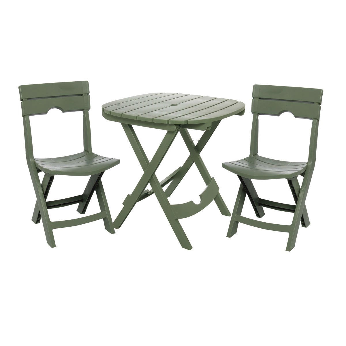 3-Piece Fast Fold Outdoor Furniture Bistro Set in Sage Green, AQCBS899 :  This 3-Piece Fast Fold Outdoor Furniture Bistro Set in Sage Green is the ideal on-the-go bistro set. Folding quickly and compactly, the set travels along for any outdoor recreation, including camping, picnics, tailgating, and more. Use in the backyard for extra seating at parties, or on the balcony or patio. Comfortable and sturdy, this resin set is a long-lasting value. Proudly made in the USA. Built-in umbrella hole holds most standard umbrellas; High-quality resin material is lightweight enough for everyone to handle.