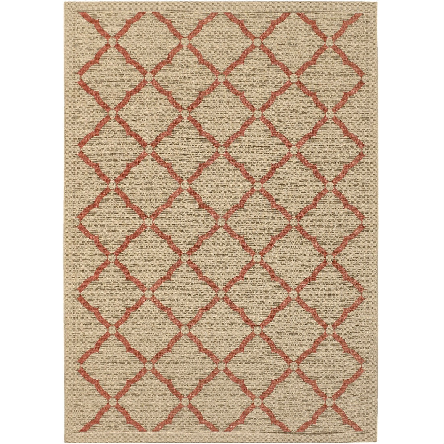 5'10 x 9'2 Terracotta Cream Area Rug with Trellis Lattice Pattern, CAR51061851 :  Varying motifs, ranging from graphic stripes to patterned shapes, take center stage in this 3'7 x 5'5 Indoor Outdoor Area Rug with Black Cream Lattice Pattern. Taking its cue from the surrounding environment, this power-loomed collection can be used to create tranquil retreats for the home. Power-loomed of 100-percent polypropylene, each of the dynamic patterns offer a highly durable pile that affords superior comfort and fuss-free maintenance. Designed specifically to withstand outdoor elements, Five Seasons is mold and mildew resistant, as well as UV stabilized to ensure each color, from cool to warm tones, retains their vibrancy even after months of exposure to the sun and other weather conditions. Imported. 100-percent recyclable.