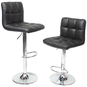 Hot, sleek and incredibly fashionable and fun, these Set of 2 - Adjustable Height Bar Stool with Black Faux Leather Cushion Seat are must have for the modern home. Set of 2 contemporary stools, PU Leather seat, air lift design for seat height of 24 to 30 Inch. The base is made from durable, chromed steel, A bar-style foot rest provides maximum comfort.