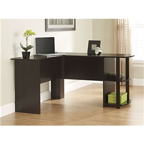 Expand your work area with this L-Shaped Corner Computer Office Desk in Dark Cherry Finish. With its large work surface and L-shaped design, this desk is great for getting things done. Perfect for a home office or commercial setting, the L-Shaped Desk features two shelves on the side for convenient storage of books, magazines, binders, supplies or decorative items. The top of the desk has two grommet holes, allowing you to hide wires for your computer, monitor and other devices. Finished in Dark Russet Cherry, this transitional-styled desk looks great in any interior. Requires easy assembly. Built in USA.