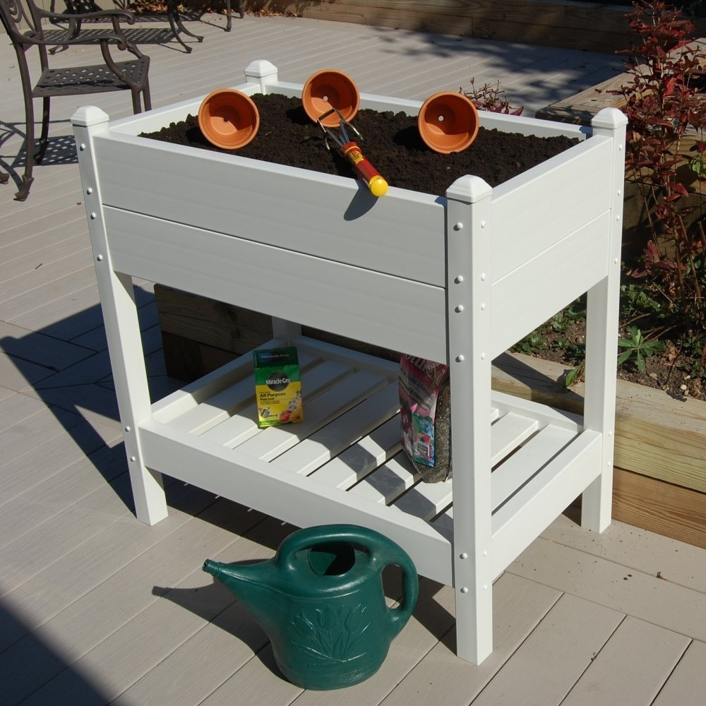 36-inch Wide Raised Planter Box in White Vinyl - Made in USA, KRP1433 :  This 36-inch Wide Raised Planter Box in White Vinyl - Made in USA makes the perfect small garden or garden seed starter. The planter box measures 36-Inch long, 21-Inch wide and 37-Inch high with planting dimensions of 33-Inch long, 18-Inch wide and 11-Inch high. Made with the highest quality PVC vinyl, this planter box is completely maintenance free. The high quality PVC vinyl contains the highest concentration of titanium dioxide for the strongest UV sunlight protection. Buy with confidence, all Dura-Trel products are backed with a 20 year warranty guaranteeing your trellis will never delaminate, crack, peel, fade or discolor in any way. Once assembled and installed in your yard, the only maintenance ever needed is a simple spray with a garden hose and wipe clean. Pre-cut and pre-drilled holes with all hardware included.