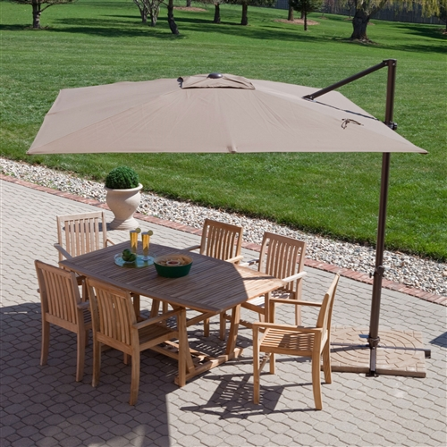 Modern 8.5-Ft Offset Cantilever Square Patio Umbrella with Mocha Shade, MOCU94451 :  When the sun is beating down on your gathering, this Modern 8.5-Ft Offset Cantilever Square Patio Umbrella with Mocha Shade has you covered. Its offset design is the perfect way to shade any space where standard center pole umbrellas are unwelcome. Its Obrivia shade is fade resistant and its aluminum pole is strong and sturdy. So keep the sun at bay and let your party play with this attractive patio accessory. Rotates 360 degrees via crank lift and tilts from front to back; Fabric Type Obravia; Lift Crank; Number of Ribs 8; Pole Material Aluminum; Rotation 360 degrees with foot pedal; Tilt Manual; Umbrella Shape Square.