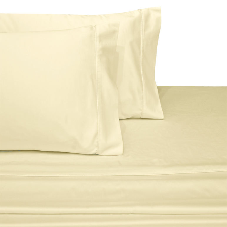 """Royal Tradition: Wrinkle-resistant 300TC Solid 100% Egyptian Cotton Linens. The 4-Piece Sheet Set starts with amazingly soft single-ply 300 thread-count 100% cotton sateen that has a wrinkle resistant finishing treatment and has been calendared and mercerized. The benefit to you is sheets and pillowcases that have a beautiful sheen, higher luster, increased durability and are smoother to the touch. The flat sheet and pillowcases are accented with a decorative turn back hem to add strength and give them a clean, crisp look. Deep Pocket Fitted sheet to fit up to 18"""" Mattress Fitted Made with Elastic all around for better fit. Machine Wash."""