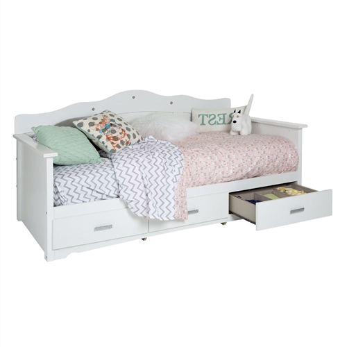 "This Twin size Kids Bed Daybed in White Wood Finish with 3 Storage Drawers will give your daughter's room a fairytale atmosphere. The 3 drawers with their oh-so-cute chrome handles complement the functionality of this handy piece, and you'll be charmed by its many versatile uses. Decorative cut and jewel like inserts on the headboard to resemble a tiara. Elegant jewel type chromed handles and decorative cutout in the kick plate, for a feminine style. This twin daybed (39'') is an economic option since it does not require the use of a box spring. Features 3 practical drawers (all on the same side). Metal slides for smooth gliding. Can support a total weight of up to 250 lb. Drawer #1 dimensions: 22,5"" (L) x 17,5"" (D) x 4,5"" (H). Safety is an integrated part of our values: this product meets or exceeds all North American safety standards. Mattress and accessories not included. Requires complete assembly by 2 adults (tools not included). Product dimensions: 42,25"" (L) x 79"" (D) x 39,5"" (H). Box #1 dimensions: 86,69"" (L) x 16,34"" (D) x 5,43"" (H), 113 lb. Box #2 dimensions: 48,86"" (L) x 27,32"" (D) x 4,72"" (H), 85 lb. This item ships in 2 boxes, so be sure to have a friend with you – or good biceps! – when it arrives. This product's packaging has been tested and is certified to reduce the risk of damage during shipment. Made in Canada with non-toxic laminated particleboard. Clean with a soft dry cloth. 5-year quality guarantee. Any product-related questions? Contact the manufacturer's customer service, available 7/7 by phone, chat, and email. Consult their website for details."