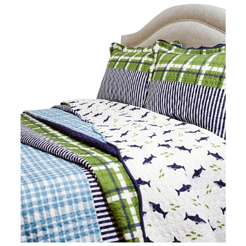 It's all here! The King Navy Blue Green Plaid Shark Theme Reversible 3 Piece Coverlet Quilt Set is perfect for any bedroom. Filled with 200GSM 50-percent polyester/50-percent cotton makes the quilt heavy enough for winter use but yet light enough for summer. Intricate stitching across the whole quilt and shams creates a unique pattern, adds durability and insures the batting will not shift or bunch. Fabric bound scalloped borders add visual interest and character. Heavy enough for winter use but yet light enough for summer; Intricate stitching creates unique pattern; Comes with beautiful sheen and smooth to touch; Machine wash cold, tumble-dry low; Other side of the sharks is the green plaid.