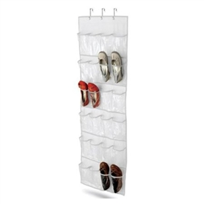 Clear White Shoe Organizer Shoe Rack - Hangs Over Door, HCDOC1399 :  Corral shoes, harness accessories, or tame crafting supplies with this Clear White Shoe Organizer Shoe Rack - Hangs Over Door. Made of sturdy polyester with 24 durable clear nylon pouches (that's 12 pairs of shoes, Imelda), the organizer hangs on any standard size door or closet rod with three metal hooks. It comes in several attractive colors to suit any decor and wipes clean for easy maintenance. Measuring 20 inches wide by 54 inches long, it also comes with a limited lifetime warranty.