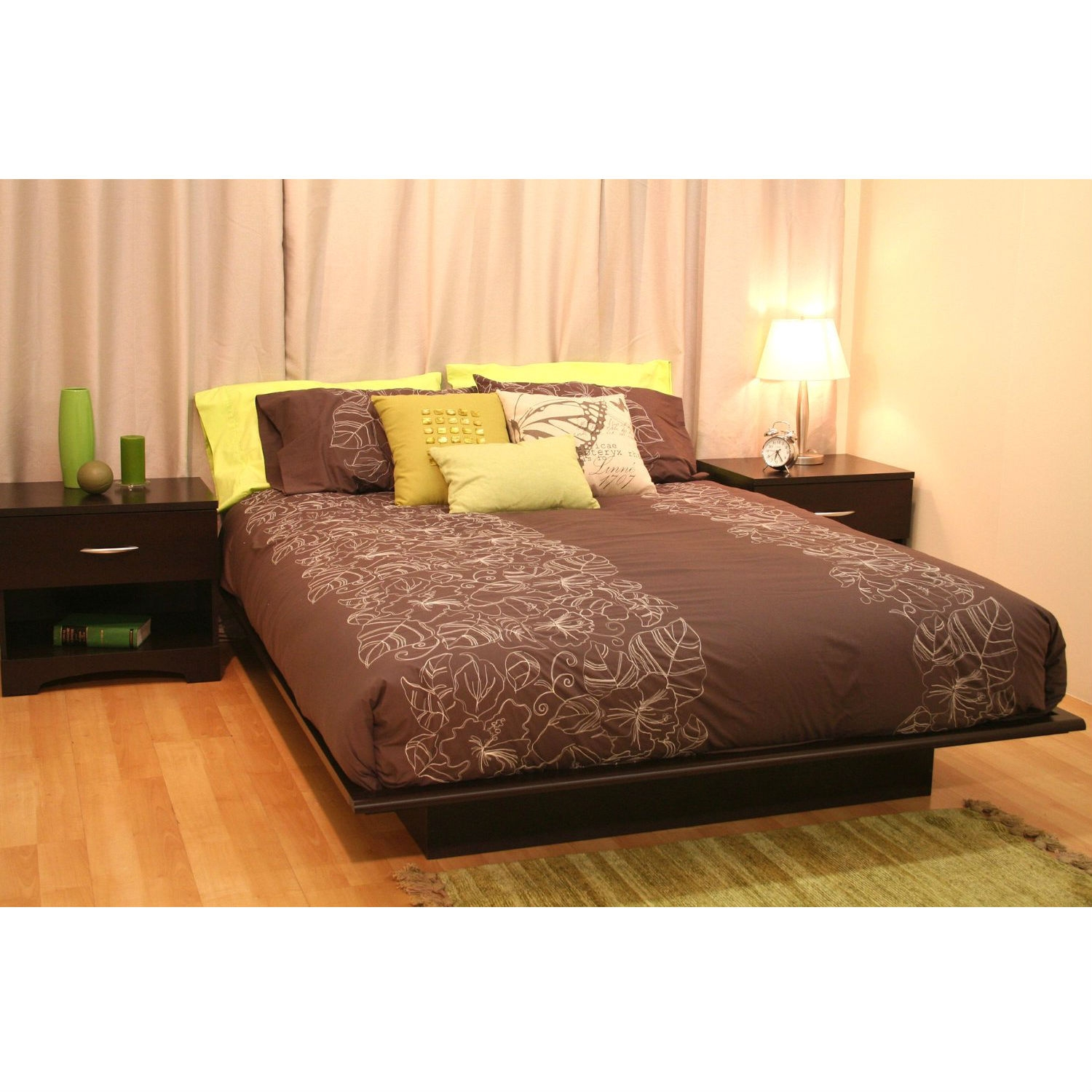 Queen size Platform Bed Frame in Dark Brown Chocolate Wood Finish,  BSPB1601Q :  This Queen size Platform Bed Frame in Dark Brown Chocolate Wood Finish would be a great addition to your home. It is made of non-toxic materials and there is no box spring required. Queen size Platform Bed Frame in Dark Brown Chocolate Wood Finish; Made of non-toxic materials and components; The moldings of the platform bed have profiled edges that help the mattress to stay in place. Manufactured from eco-friendly, EPP-compliant laminated particle board carrying the Forest Stewardship Council (FSC) certification; 5-year manufacturer's limited warranty; FSC Certified: Yes; Assembly Required: Yes; Product Warranty: 5 year limited warranty; CPSIA or CPSC Compliant: Yes; Frame Material: Particle board; ISTA 3A Certified: Yes; General Conformity Certificate: Yes; Country of Manufacture: Canada; Eco-Friendly: Yes; Product Care: Wipe clean with dry cloth.