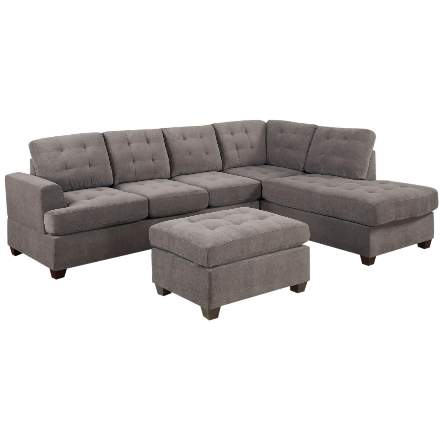 This 3-Piece Reversible Sectional Sofa with Ottoman in Charcoal Microfiber features two pieces upholstered in a waffle suede modern design with accent stitching. It includes a chaise extension and matching cocktail ottoman. Made with hardwood frame and each corner assembly is glued, screwed and corner-blocked assembly required; All legs are free of knots hardwood material elegant, classic and durable; All fabrics are special select for wearability and durability; All seats cusions are made by highest standard lite weight form and spring material for easy arrangement if needed.