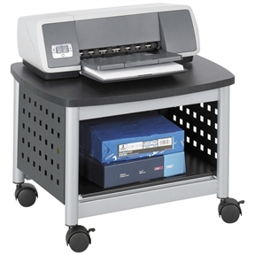 "This Under-Desk Printer Stand Mobile Office Cart in Black and Silver is an easy way to free up desk space and keep additional printing supplies close at hand. Large enough to accommodate most desktop printers and other small office machines but is only 14-1/2"" high for compact storage. Attractive black stand with unique hole pattern design and silver leg accents. Mobile on four casters, two locking. The stand hides printers and small office machines under most work-surfaces."