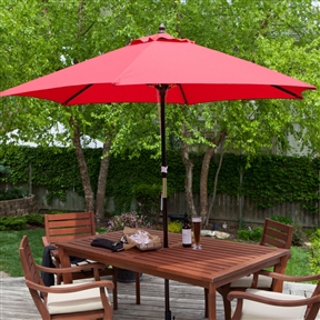 Outdoor 9-Ft Wood Patio Umbrella with Red Canopy Shade, HUD987413 :  Give your patio a touch of Florida with this Outdoor 9-Ft Wood Patio Umbrella with Red Canopy Shade. It comes in seven shades sure to complement your outdoor furniture and decorations, and the spun-polyester material and six-rib construction are durable enough for everyday use. A pulley-and-pin system lets you quickly lift and expand the umbrella without struggling, providing fast shade for your guests. It also comes with a hardwood pole that blends into your patio table, and the brass accent pieces add a decorative touch. Mahogany-stained hardwood pole with brass accents; Commercial Grade Yes; International Shipping Canada; Number of Ribs 6; Tilt None; Umbrella Shape Hexagon; Warranty Manufacturer Warranty Included.