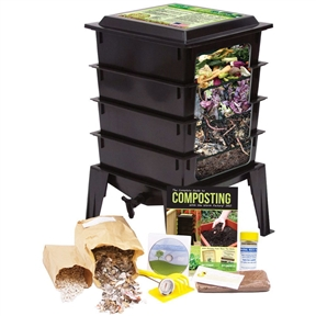 """Black Worm Composter with Compost Tea Spigot - Indoor or Outdoor, NFW360109:  This Black Worm Composter with Compost Tea Spigot - Indoor or Outdoor would be a great addition to your home. Composting with worms allows you to turn kitchen scraps, paper waste and cardboard into nutrient-rich soil for your plants. The Worm Factory 360 composting system makes the entire process quick and easy. With a thermo siphon air flow design, the Worm Factory 360 increases the composting speed. Now you can produce compost much faster than traditional composting methods. This version of the Worm Factory 360 comes in black, and it's also available in green and terracotta. The redesigned lid converts to a handy stand for trays while harvesting the compost; Included instructional DVD with step-by-step guide for managing your Worm Factory 360; The accessory kit provides basic tools to make managing the Worm Factory 360 easier; Built in """"worm tea"""" collector tray and spigot for easy draining."""