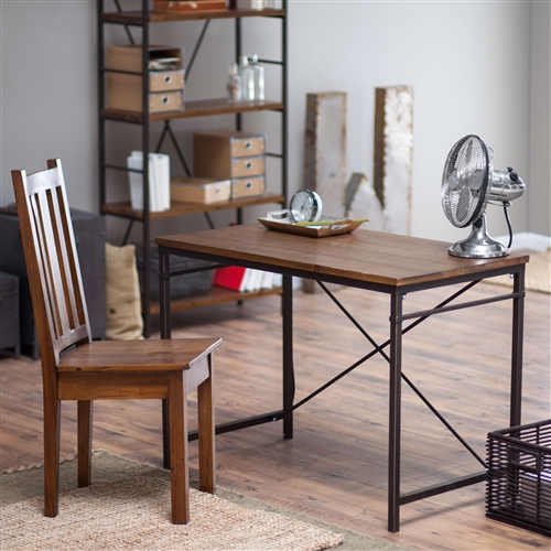 This Compact Writing / Computer Desk with Metal Frame and Fir Wood Top offers a rustic solution for writing or computer work. This compact desk works equally well as a computer desk, a writing desk, or a work area for other small projects. Its metal frame and fir wood top feature a multi-step rustic finish, giving them vintage-inspired appeal. The This simple design fits well in many areas. Arms Armless; Assembly Required; Desktop Material Wood Solids/Veneers; Finish Rustic Bronze; Material Metal (Desk), Wood; Shape Rectangular; Special Features With Optional Chair Style Industrial, Transitional.