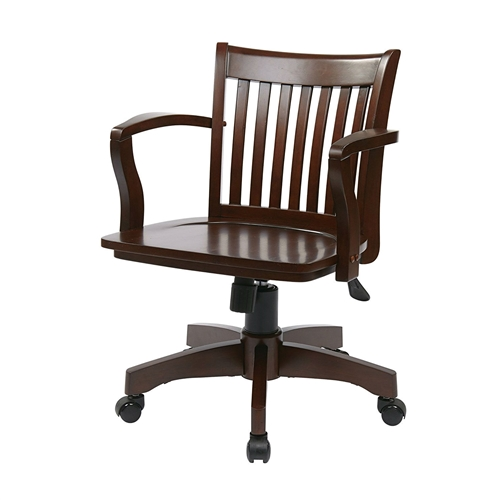 This Espresso Wood Bankers Chair with Wooden Arms and Seat features a pneumatic seat height adjustment, locking tilt control with adjustable tilt tension, wood covered steel base with dual wheel carpet casters.