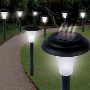 Set of 16 - Solar Powered LED Accent Lights, GCSLED36581 :  No wiring or electricity is required to install these Set of 16 - Solar Powered LED Accent Lights. They soak up the sun's energy by day and shine brightly at night. The white LED lights illuminate walks, gardens, and patios. This set includes eight lights, each of which measures 4.25 inches by 4.25 inches by 13.5 inches. Easy to install--no wires to run; Solar-powered lights automatically turn on at dusk and off at dawn; Made from durable weatherproof materials; Super-bright white LED lights charged by the sun; Approximately 13.5 inches tall.