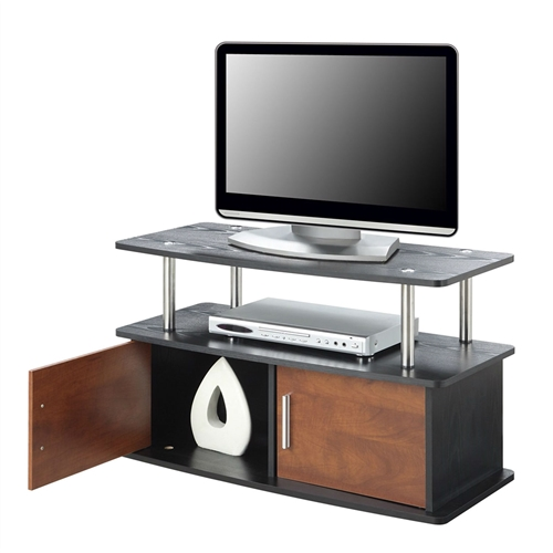 This Modern 35-inch TV Stand in Brown Cherry Wood-grain Finish provides a slim and charming shape that's an easy choice when you're looking for a piece to sit at the center of your room. This versatile stand features a wide top supported by poles of stainless steel-clad poles. The body is crafted from solid wood with a selection of high-quality wood veneers. The pair of front doors are offered with veneers of various colors to complement any style. Inside that cabinet is plenty of storage that makes the perfect spot for AV components, gaming consoles, and all the remotes and media that come with them.