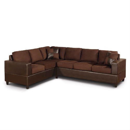 Comfortable, stylish, and spacious enough for entertaining, this Dark Brown Chocolate Sectional Sofa in Microfiber and Faux Leather creates a perfect spot to lounge with a book, chat with a friend, or take in a favorite TV show. Available in a range of handsome hues, the design combines a loveseat and a three-seater sofa to create its generous L shape and includes a pair of matching accent pillows. The furniture pieces are all built on a hardwood frame with sturdy plastic legs and rich chocolate-hued faux leather upholstery. Quality poly fiber fills the cushions and pillows for support and comfort, while a super-soft microfiber upholstery covers them in your chosen color. For a bit of visual play, the accent pillows feature a checkered design that blends the faux leather and the microfiber. Overall, the Trenton is a nice match for most contemporary homes and offers ample space to gather, recreate, and relax. Some assembly is required, as the set is delivered flat packed. All set up, the Trenton measures 112 inches wide by 35 inches high, and the sofa and loveseat are each 34 inches deep. For a fully coordinated room, look for the faux leather rectangular ottoman in complementary colors.